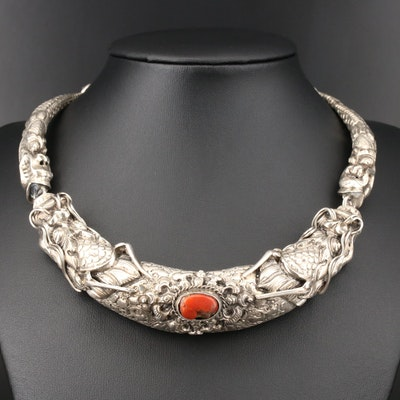 Asian Sterling Coral Dragon Necklace
