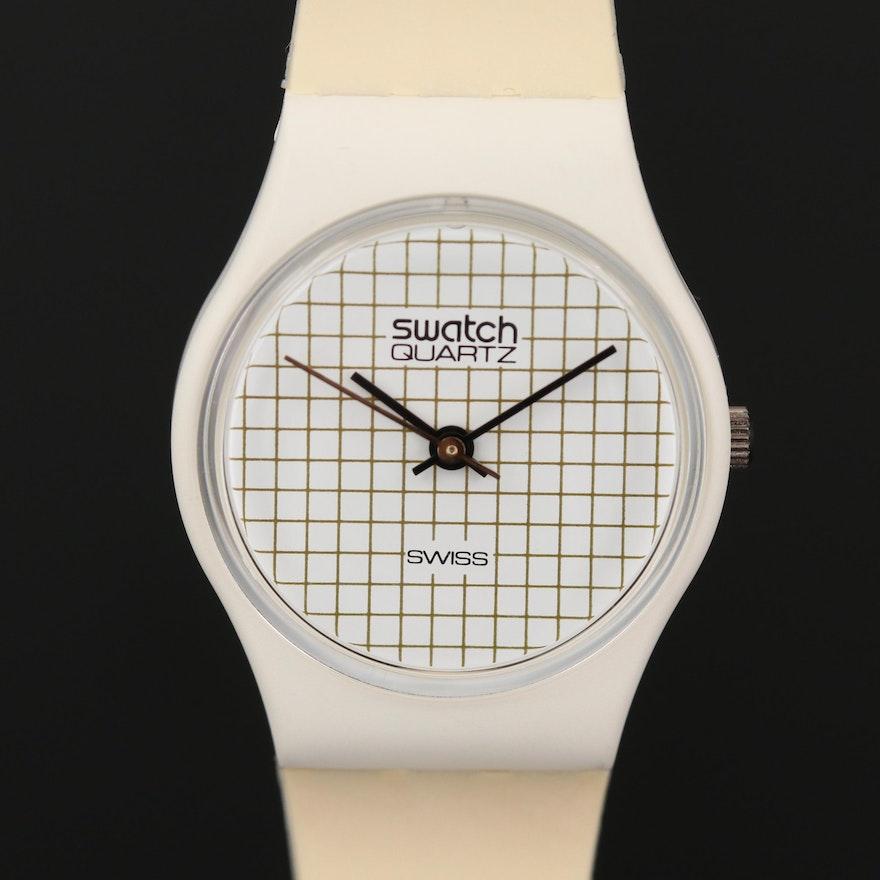 Vintage Swatch Tennis Grid Quartz Wristwatch, 1983
