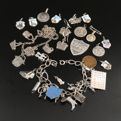 Vintage Jewelry and Charm Selection Featuring Sterling and Coin