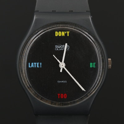 "Vintage Swatch ""Don't Be Too Late!"" Quartz Wristwatch, 1984"