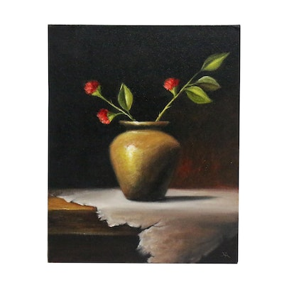 """Houra H. Alghizzi Still Life Oil Painting """"Red Flowers in Brass Vase"""""""