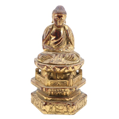 Asian Lacquered and Gilt Wooden Buddha Figure