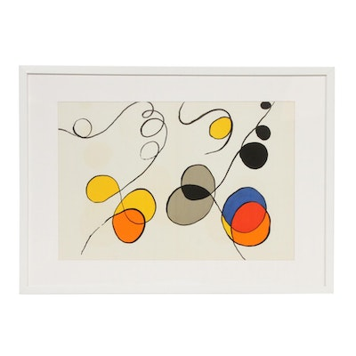 "Alexander Calder Double-Page Color Lithograph for ""Derrière le Miroir,"" 1968"