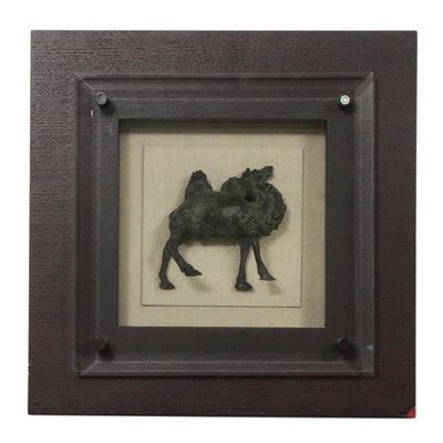 Bronze Camel Sculpture in Shadowbox Frame, Early to Mid 20th Century