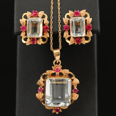 10K and 14K Yellow Gold Aquamine and Ruby Necklace and Earrings
