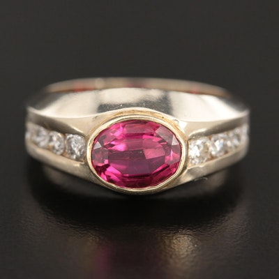 14K White Gold Ring with Rubelite Tourmaline and Diamond and Yellow Gold Bezel