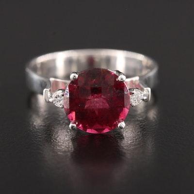 18K White Gold Rhodolite Garnet and Diamond Ring