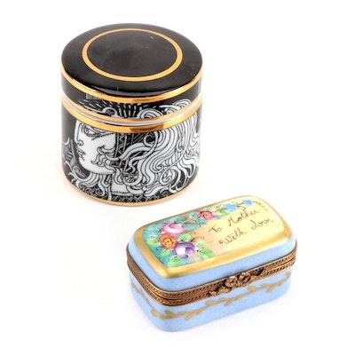 Chamart Limoges and Hollohaza Porcelain Boxes