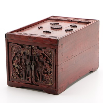 Chinese Red Lacquer and Parcel Gilt Carved Wood Jewelry Chest, Late 19th Century