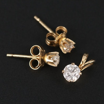 14K Yellow Gold Diamond Solitaire Pendant and Stud Earrings