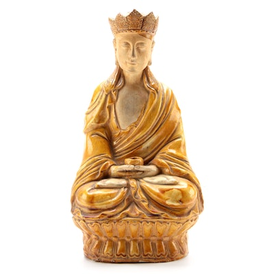 Chinese Glazed Earthenware Seated Buddha Figure