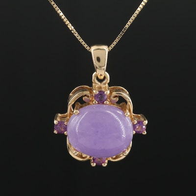 14K Necklace with Jadeite and Amethyst Pendant