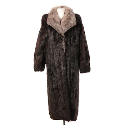 Beaver Fur Coat with Fox Fur Collar from Marshall Field's, Vintage