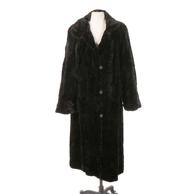 Black Sheared Mink Fur Reversible Button-Front Coat
