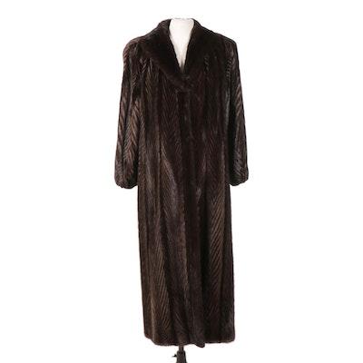 Herringbone Corded Mink Fur Full-Length Coat