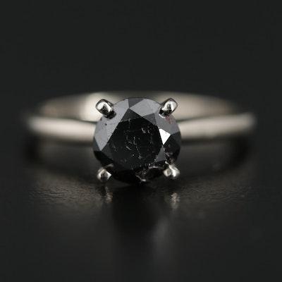 14K White Gold 1.76 CT Black Diamond Solitaire Ring