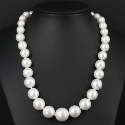 Hand Knotted Imitation Pearl Strand Necklace With 14K Yellow Gold Clasp