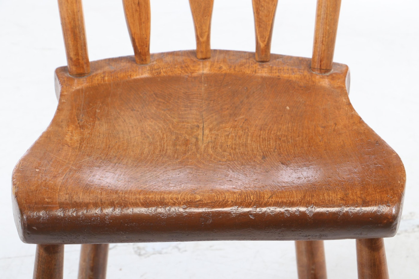 Pair Of American Half-Spindle And Plank-Bottom Side Chairs