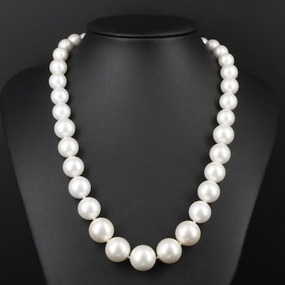 Graduated Imitation Pearl Necklace With 14K Yellow Gold Clasp