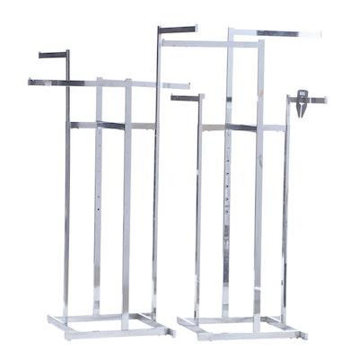 Chrome Adjustable Height Retail Merchandise Display Racks, Contemporary