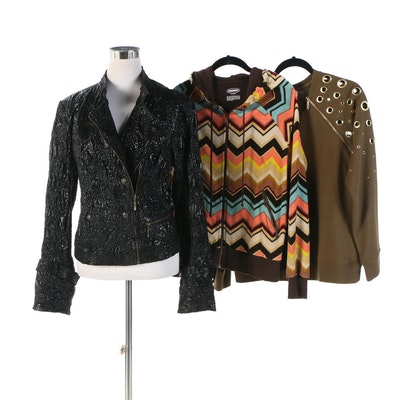Live A Little Black Leather Jacket, Missoni Jacket, and Michael Kors Sweater