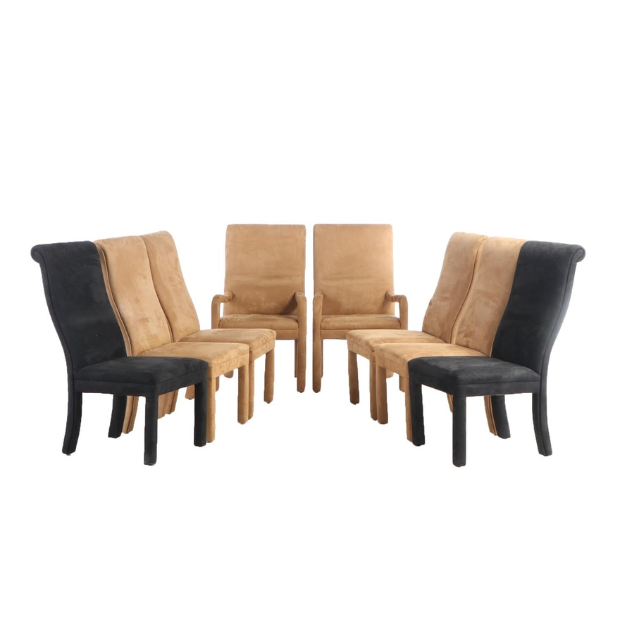 Eight Black and Tan Suede Upholstered Dining Chairs, Late 20th Century