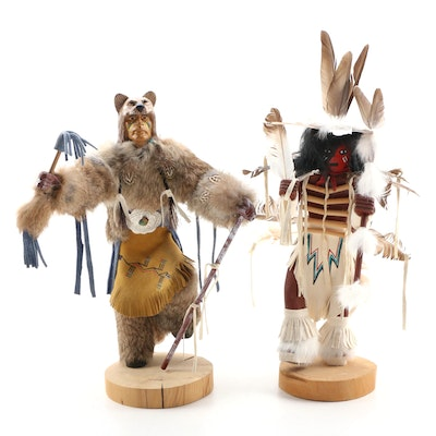 """P. Yazzie and Julie L. Kachina Dolls """"Traditional Dancer"""" and """"Mountain Lion"""""""