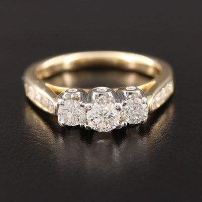 14K Yellow Gold 1.00 CTW Diamond Ring With 14K White Gold Head