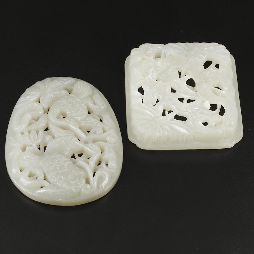 Chinese Carved Nephrite Cranes and Dragon Stones