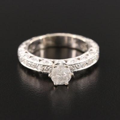 14K White Gold 1.03 CTW Diamond Ring With Milgrain Detail