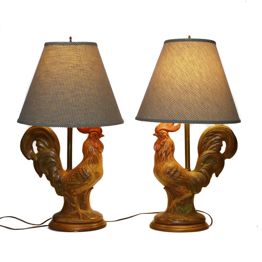 French Country Style Ceramic Rooster Table Lamps, Mid to ...