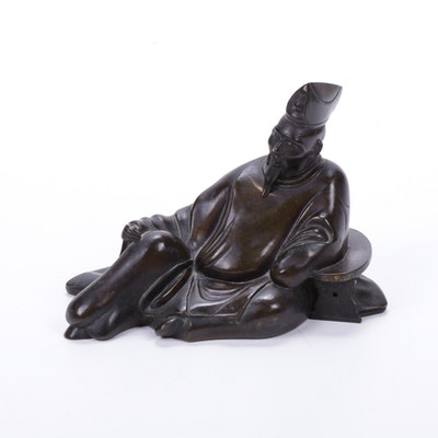 Japanese Bronze Reclining Scholar Figure