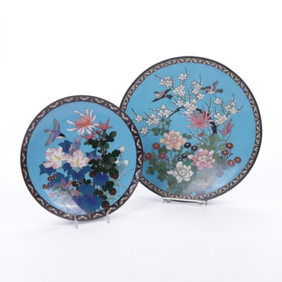 Japanese Cloisonné Plates with Flower and Bird Motif, Meiji Period