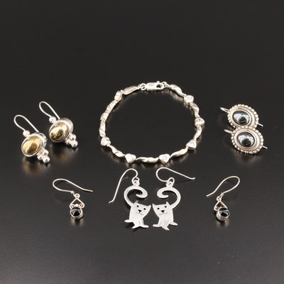 Sterling Silver Gemstone Earrings and Bracelet Including Mexican Cat Earrings
