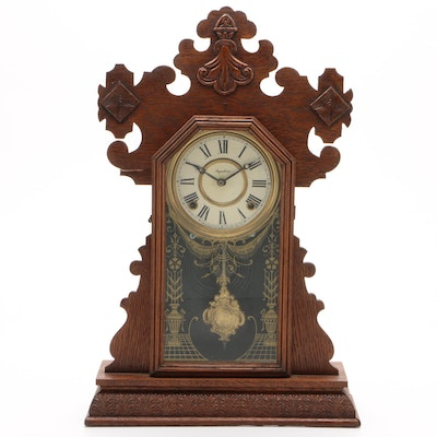 Ingraham Oak Gingerbread Shelf Clock, Late 19th/Early 20th Century