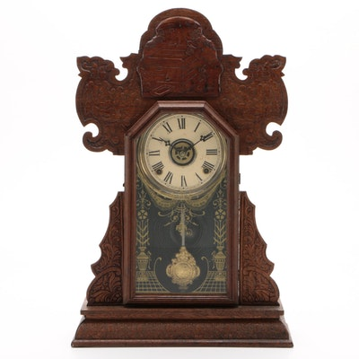 The E. Ingraham Company Oak Gingerbread Clock, Late 19th/Early 20th Century