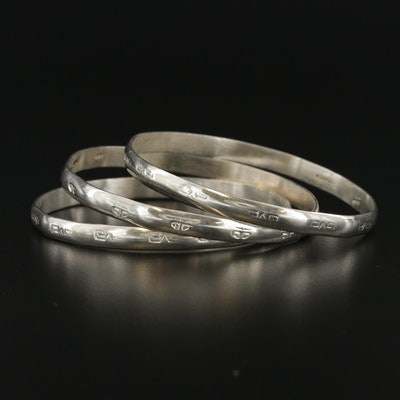 Mexican Sterling Silver Stackable Bangle Bracelets
