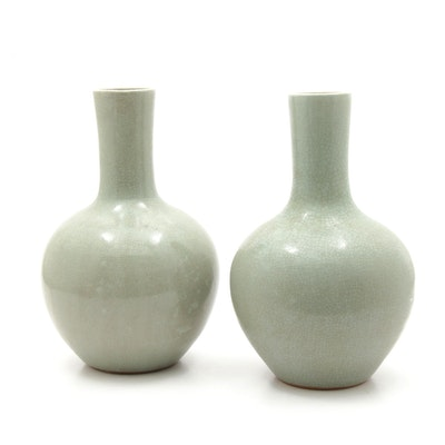 Chinese Celedon Glazed Art Pottery Vases, Mid-20th Century