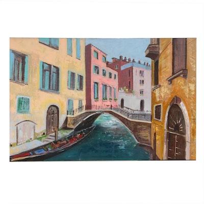 Farshad Lanjani Canal Scene Acrylic Painting