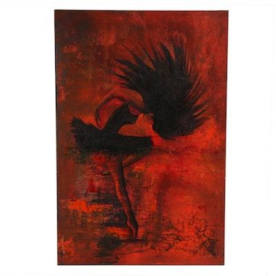 Farshad Lanjani Ballerina Oil Painting