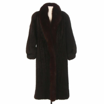 Full Skin New Zealand Opossum Fur Coat with Fox Trim and Banded Cuffs