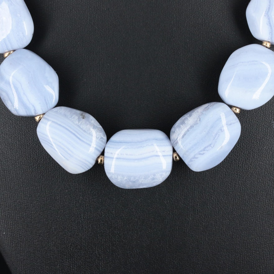 Beaded Blue Lace Agate Necklace With 14K Yellow Gold Clasp and Spacer Beads