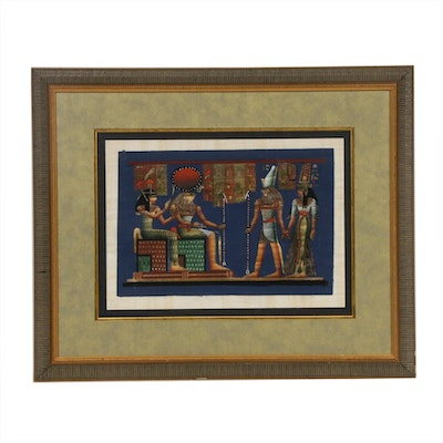 Egyptian Deities Gouache on Papyrus Painting