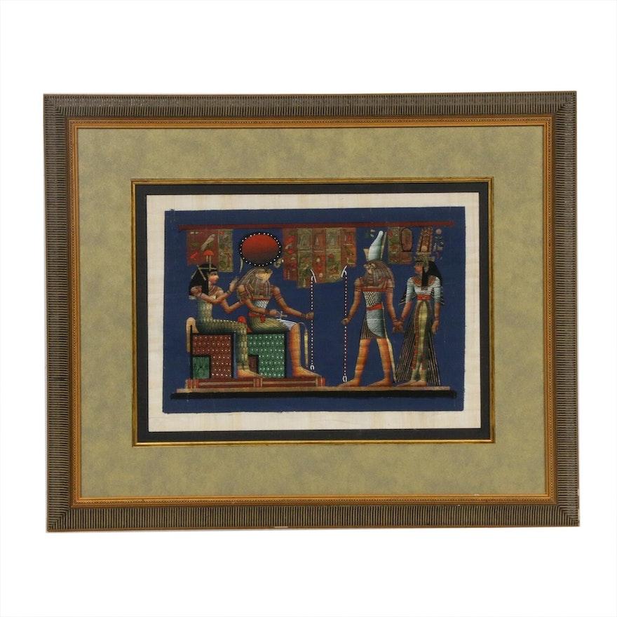 Egyptian Deities Gouache on Papyrus Painting