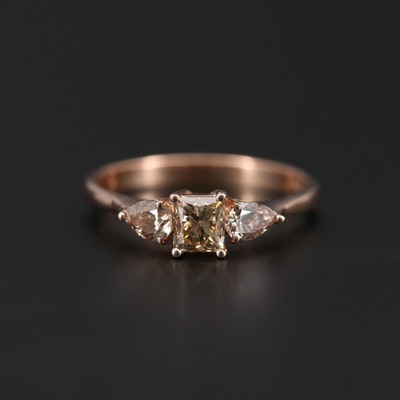 18K Yellow Gold 0.91 CTW Diamond Ring