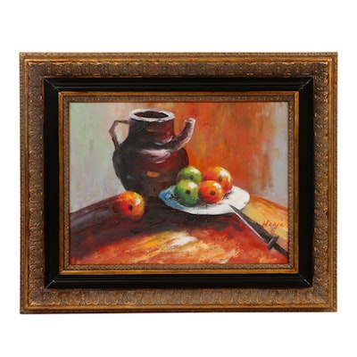 Hzaja Still Life of Fruit and Pitcher Oil Painting, Late 20th Century