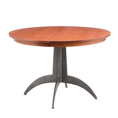 Spider Leg Metal Base Cherry Finish Dining Table with Leaf, Contemporary