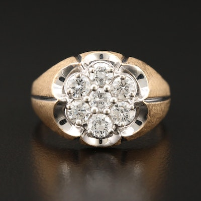 14K Yellow Gold 1.16 CTW Diamond Cluster Ring