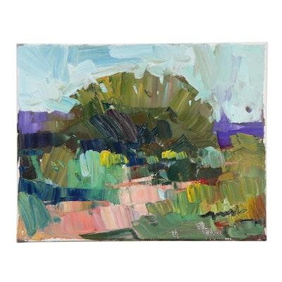 "Jose Trujillo Landscape Oil Painting ""The Good Green Earth"""