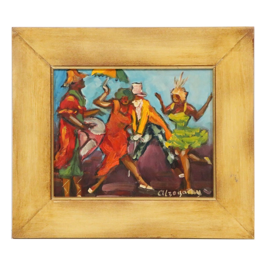 """Walter Alzogaray Oil Painting """"Candombe,"""" Mid to Late 20th Century"""